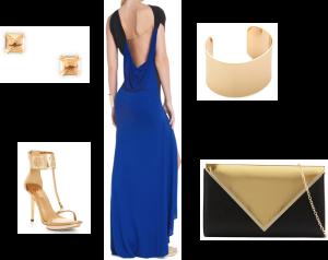 C. Wonder earrings – Square Bling Studs, BCBG – Carine Asymmetrical Draped Evening Gown, Club Monaco – Shawna Gold Cuff, Aldo – Bernell Clutch, BCBG – Phoenix Metallic Sandal