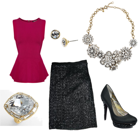 Topshop – Sleeveless Peplum Top, Givenchy – Crystal Stud Earrings, J. Crew –  Flower Lattice Necklace, Rachel Roy – Kalyssa3 Platform Pumps, Eve Sequin Pencil Skirt – Velvet By Graham & Spencer, Kate Spade – On The Town Ring