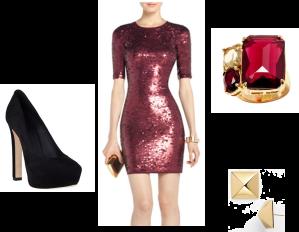 BCBG – Marta Sequined Cocktail Dress, Banana Republic – Candy Stone Cocktail Ring, Kate Spade - Locked In Large Stud Earrings, Brian Atwood – Savita Platform Pump