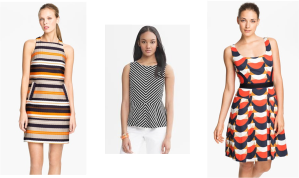 Trina Turk 'Spiegler' Woven Shift Dress - nordstrom.com; Chevron stripe ponte peplum top - bananarepublic.gap.com; Milly 'Isabelle' Cotton Fit & Flare Dress - nordstrom.com