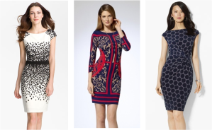 Maggy London Scatter Print Ponte Sheath Dress - nordstrom.com; 3/4 length sleeve matte jersey dress with mirror tile print - cache.com; Lauren Ralph Lauren Polka Dot Matte Jersey Dress - nordstrom.com