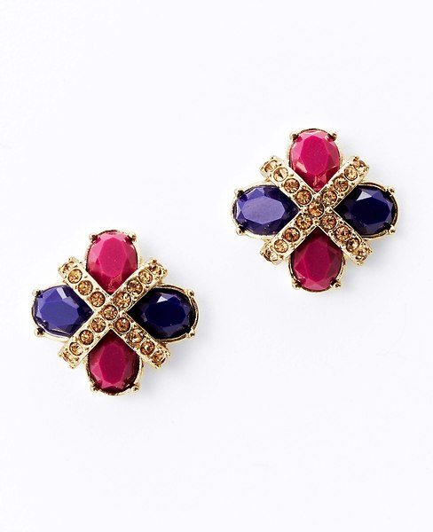 Colorblocked Button Earrings, Ann Taylor