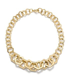 Hexagon Link Necklace, Tory Burch